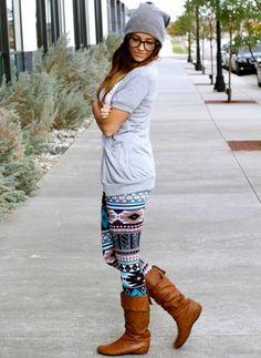 Teal Aztec Leggings I want these leggings!