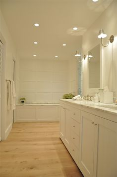 Recessed lighting in any room gives a room such a soft and clean look. The look is very modern and more lighting can be provided in many different directions.
