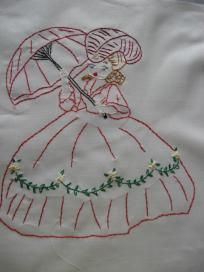 Girl with Fancy Bonnet, Hand Embroidered Quilt Block, 13-1/2 x 13-1/2, Free Shipping in US
