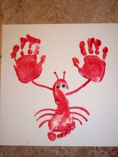 Lobster made from footprint and hands, you can either use googlie eyes or you could use thumb prints to make eyes also