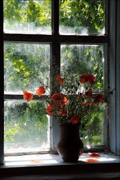 window sill with flowers,looking out at apple trees. Ivy House, Looking Out The Window, Window View, Window Pane Art, Window Ledge, Through The Window, Windows And Doors, Still Life, Flower Power