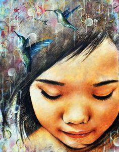 """ONCE UPON A DREAM by Emi Thomas, inspired by the quote, """"Hope is the thing with feathers that perches in the soul and sings the tune without words...and never stops."""" The painting was donated to raise awareness in Denver of the large population of refugees, and aid the Asia Pacific Society's efforts in its support."""