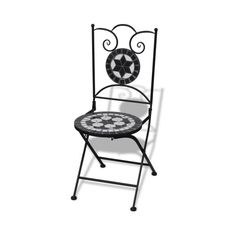 black Mosaic Bistro Chair Black / White Set of 2 - LovDock.com (410 BRL) ❤ liked on Polyvore featuring home, outdoors, patio furniture and outdoor patio sets
