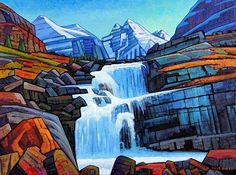 A collection of Paintings by Canadian Painter Nicholas Bott. Waterfall Paintings, Seascape Paintings, Cool Paintings, Landscape Paintings, Naive, Modern Impressionism, Mountain Art, Canadian Artists, Abstract Landscape