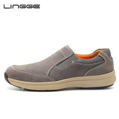df90cbcbb2e7 Promotion price LINGGE Men s Shoes Loafers 2017 New Suede Leather Casual  Shoes Breathable Designer Slip On