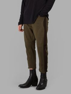 HAIDER ACKERMANN MEN'S GREEN CROPPED SWEATPANTS  - GREEN - ELASTIC BAND - FOUR POCKETS - CROPPED - 100% COTTON - MADE IN PORTUGAL