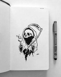 Trippy Drawings, Dark Art Drawings, Art Drawings Sketches, Skull Sketch, Pen Sketch, Arte Grunge, Sketch Inspiration, Skull Art, Art Sketchbook