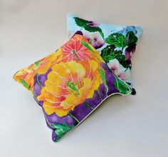 spanish poppy and hellebores - double-sided cushions