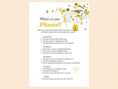 whats in your phone game printable, Bee Theme Printable Baby Shower Games, Bumble Bee Baby Shower Games, Honey bee