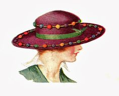 Antique Images: Free Fashion Clip Art: 2 Vintage Fashion Graphics of Women's Hats