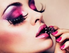 Image detail for -Heavy pink and purple eyeshadow makeup idea with long false lashes and ...