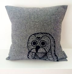 Scandinavian Owl cotton / linen hand screen printed cushion / pillow by Frydendahl. Would look great on a rocking chair in a nursery or with a collection of cushions on a sofa!