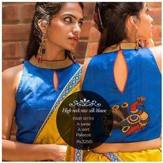 A chic alternate high neck number with a Kalamkari applique back & deep sleeveless...Smartness overload alert! Get yourself a similar one in our READY TO SHOP section OR customise your perfect blouse here: www.houseofblouse.com #houseofblousedotcom #blouse #blue #highneck #gold #collar #rawsilk #kalamkari #applique #back #love #readytoshop