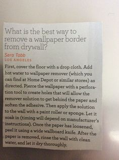 How to remove wallpaper from drywall