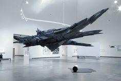 Sonja Vordermaier. Massive sculpture in black.