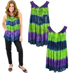 Our vibrantly colored tunic features patterns mimicking a jungle's foliage, with a hint of sparkle in the beaded accents along the neckline and hem. Made with wrinkle-resistant fabric for easy traveling!