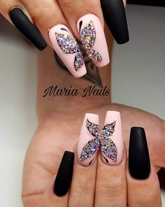 Butterfly Nail Designs, Butterfly Nail Art, Cute Acrylic Nail Designs, Creative Nail Designs, Best Acrylic Nails, Glam Nails, Hot Nails, Bling Nails, Crazy Nails