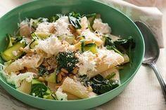 Zucchini and ricotta pasta with pine nut crumble