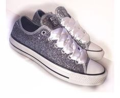 Sparkly gunmetal Glitter converse all star Choose the add Crystals option  if you would like Crystals the on toes and back heel strips White satin  shoe laces ... a18d577ee