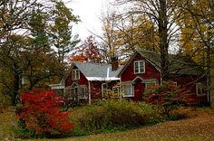 red house in autumn