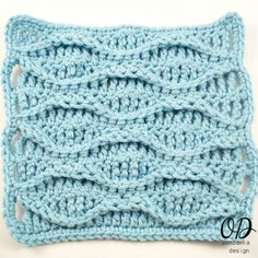 This is for a square, but just increase for a whole afghan.  8 Inch Double Wave Square @OombawkaDesign
