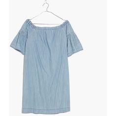 MADEWELL Denim Azalea Off-the-Shoulder Dress ($98) ❤ liked on Polyvore featuring dresses, selina wash, flared sleeve dress, blue denim dress, off shoulder dress, off shoulder denim dress and off the shoulder dress