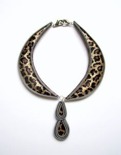 TAME LEOPARD Zipper Textile Necklace by catrinel777 on Etsy, $54.00