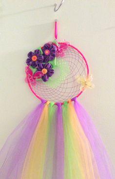 Floral dream catcher. Girl room dream catcher. by DKCRAFTSSHOP