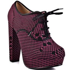 SCARPE DONNA IRON FIST HOT MESH LACE UP PLATFORM BLACK PINK WOMAN SHOES 40