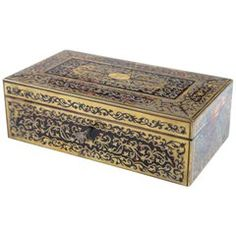 """Antique Boulle Rosewood Box """"Asprey"""" Brass & Tortoise Shell Humidor Box with Key For Sale Antique Furniture, Cool Furniture, Decorative Objects, Decorative Boxes, Boxes For Sale, Tortoise Shell, Vintage Shops, Fine Jewelry, Container"""
