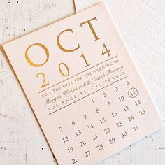 Brides.com: . Pink and gold calendar save-the-date card, price available upon request, Copper Willow