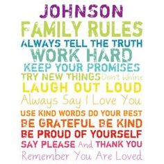 Personalized Family Rules Canvas Giclee Print