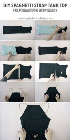 This DIY spaghetti strap high neck tank top is beginner sewing project that you can refashion your old tank top into brand new Reformation inspired clothes. With round cord elastic you can use it as shoulder strap instead of making a strap from scratch. Fashion Sewing, Diy Fashion, Fashion Outfits, Diy Outfits, Tomboy Outfits, Punk Fashion, Scene Outfits, Lolita Fashion, Fashion Boots