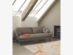 STARFLORAL Large grey and orange wool rug by Habitat adds the perfect finishing touch to this light-filled loft room. Orange Rooms, Loft Room, Uk Homes, Gray Sofa, Habitats, Interior Decorating, Living Room, Grey, Furniture