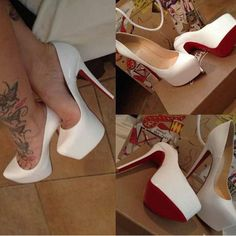 christian louboutin white heels daffodil