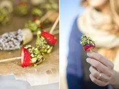 A Healthy Summer Treat! Frozen Fruit Sticks with Chocolate & Pistachio.
