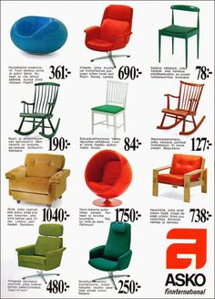 Lounge chairs by Asko, including Ball Chair and Pastilli by Eero Aarnio, Rondo and Ratamo by Olli Borg. Vintage Advertisements, Vintage Ads, Vintage Designs, 1970s Decor, Old School Fashion, Map Pictures, Old Commercials, Ball Chair, Good Old Times