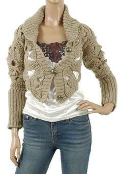 Adorable crochet jacket with translated patterns and charts.