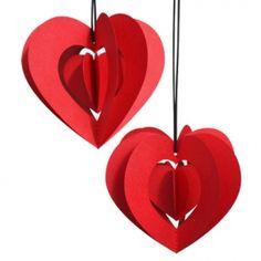 Clara hjerte, rød, 2 stk.
