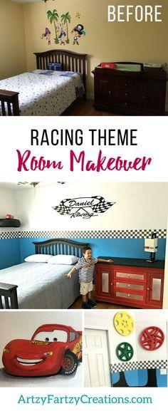 Race Car Boys Bedroom Makeover by Cheryl Phan   Lightening McQueen Boys Bedroom Ideas   Nascar Fan Boys Room Decor