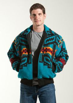 Bomber Jacket, Arapaho Trail Turquoise - Mens Pendleton Wool Jacket  http://www.kraffs.com/751535/products/Bomber-Jacket-Arapaho-Trail-Turquoise.html