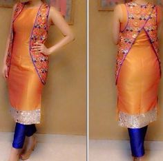 Check out this post - Traditional Raw Silk Suit created by Sakhi Kakkar and top similar posts, trendy products and pictures by celebrities and other users on Roposo. Salwar Designs, Blouse Designs, Pakistani Dresses, Indian Dresses, Indian Outfits, Punjabi Fashion, Asian Fashion, Style Fashion, Fashion Trends