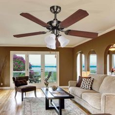 Ceiling fan with light Garbin - Fabrilamp - Wonderlamp. Inverse Functions, Fashion Room, Glass Screen, Glass Shades, Classic Style, Bulb, Living Room, Ceiling Fans, Shop