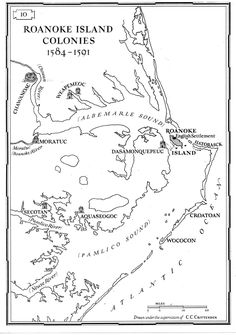 Map of outlying indian tribes near Roanoke Island