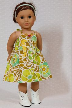 Cute halter dress by originalsbygaby on Etsy. Made using the Endless Summer Halter Dress and Top pattern, found at http://www.pixiefaire.com/products/endless-summer-halter-dress-and-top-18-doll-clothes. #pixiefaire #endlessummerhalterdressandtop