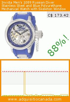 Invicta Men's 1089 Russian Diver Stainless Steel and Blue Polyurethane Mechanical Watch with Skeleton Window (Watch). Drop 88%! Current price C$ 173.42, the previous price was C$ 1,395.00. http://www.adquisitiocanada.com/invicta/invicta-mens-1089-russian
