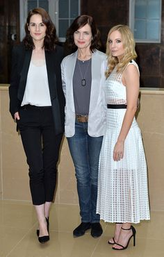 Actresses Michelle Dockery, Elizabeth McGovern and Joanne Froggatt attend the press launch of 'Downton Abbey' at May Fair Hotel on August 13, 2015 in London, England. ..