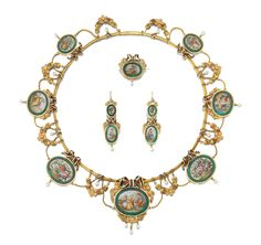 Gold enamel and micromosaic demi-parure, Mid 19th Century.