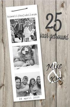 lovz | uitnodiging 25 jaar getrouwd fotostrip en hout
