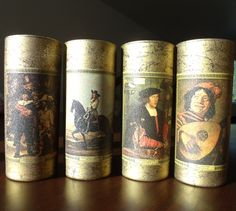 Vintage Highball Glasses-Set of 4-Famous Renaissance Paintings on Front-Issued by Jim Beam-Mfg by Spectru-Lite-1967-Original Packaging by mightymadgeshome on Etsy